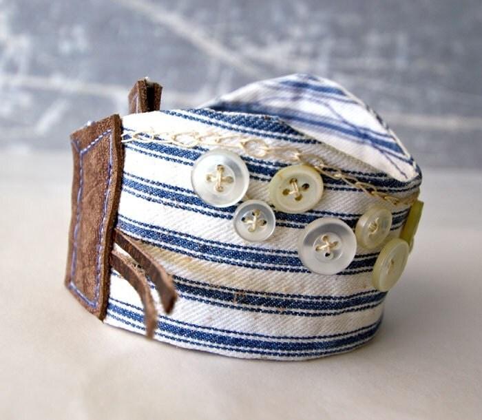 Bracelet Wrist Cuff Buttons Blue Seaside Hand Embroidery