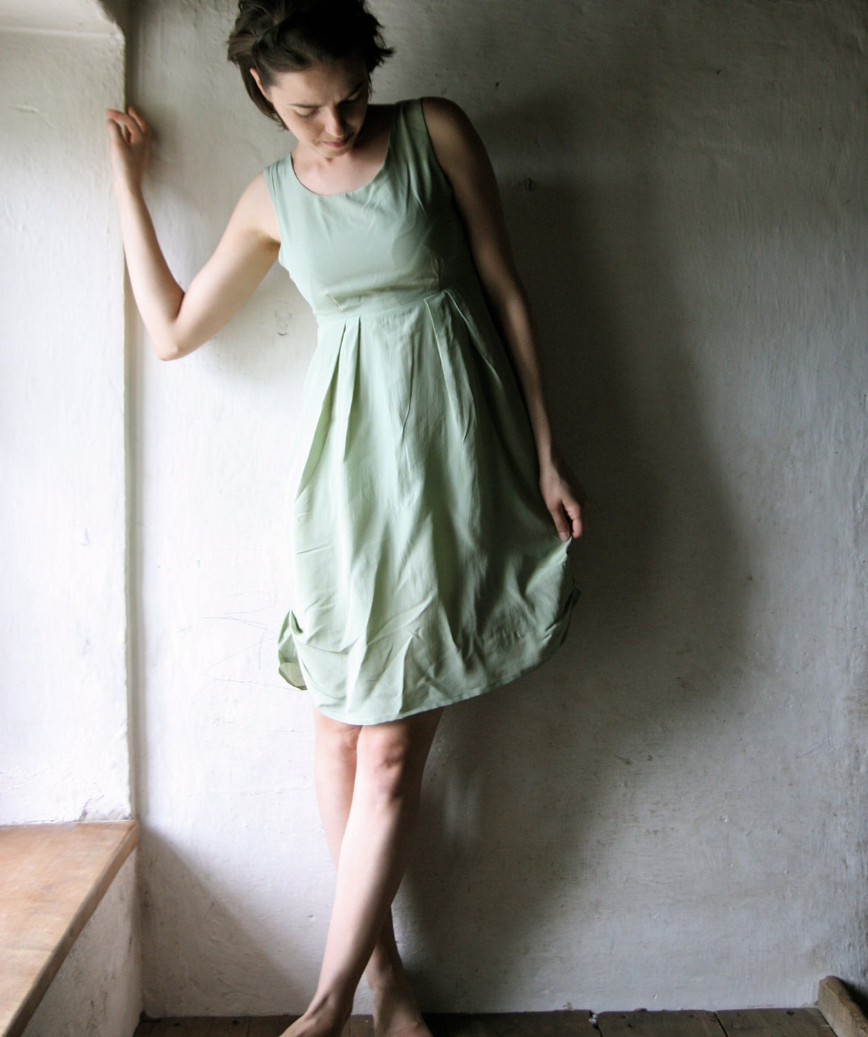 silk dress - party dress in green - bridesmaids formal dress knee lengh