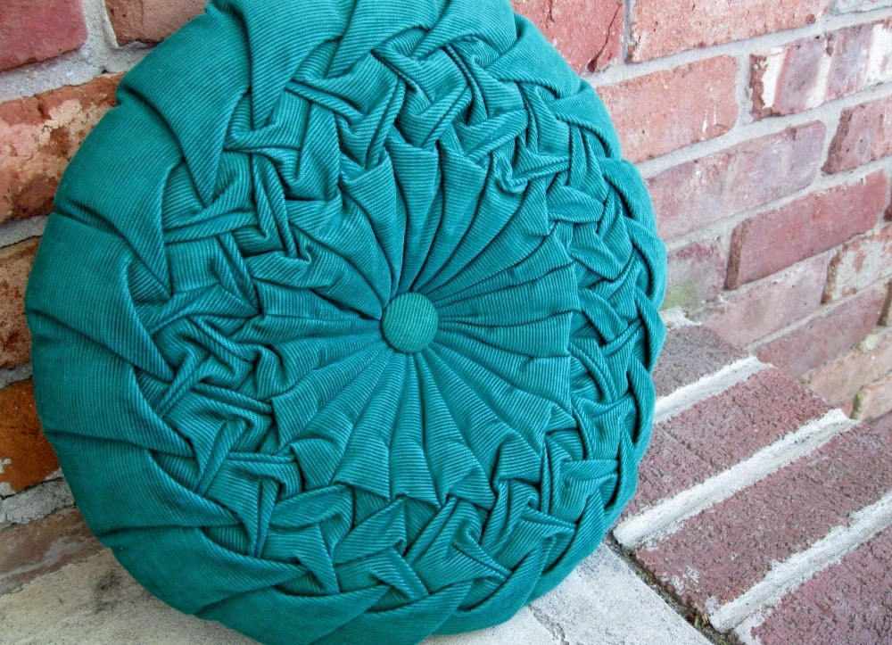 1970s KELLY Green Round Corduroy Button Pillow - Up4Grabs