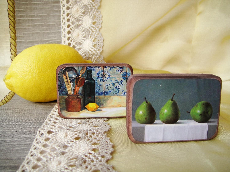 Уютная кухня магниты на холодильник - Комплект из 2 - подарок для друга