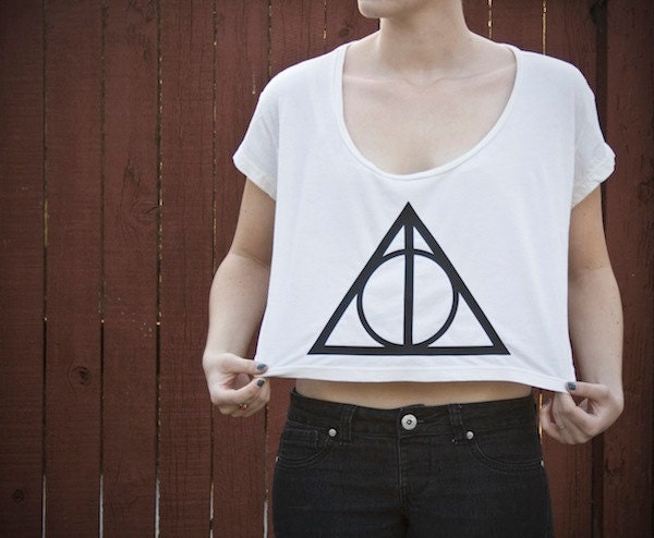 Deathly Hallows Loose Crop Tee - Harry Potter - One Size - Made to Order