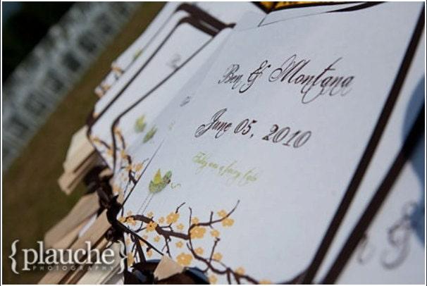 Wedding Invitation Wedding Program Save the Date Yellow Chocolate Vintage