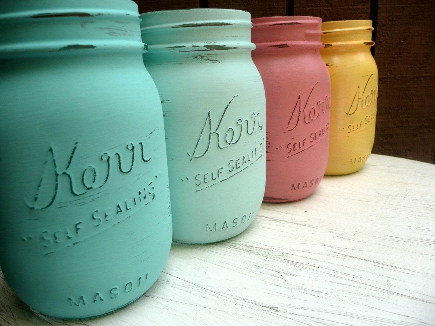 As seen on WeddingChicks.com - SPRING WEDDING and Home Decor - Painted Mason Jars - Vase - Miami Pint - BeachBlues
