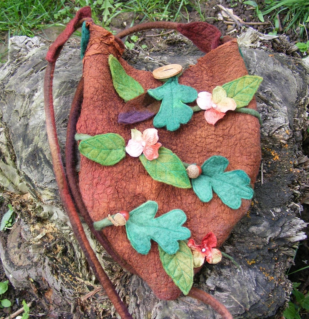 Spring Flowers Woodland Nuno Felt Bag