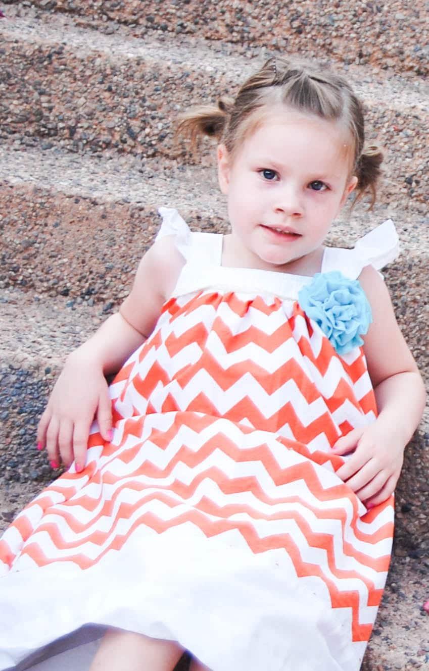 Girls Orange/White Chevron Dress  Sizes 12 mo 2T 3T (other sizes available) - jmarket