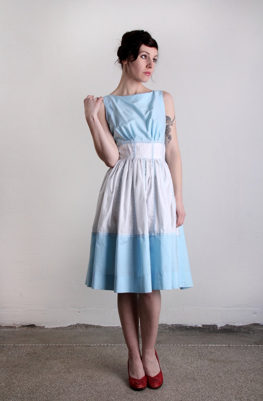 Vintage Dress . Blue Milkmaid .1960s FASHION - VeraVague