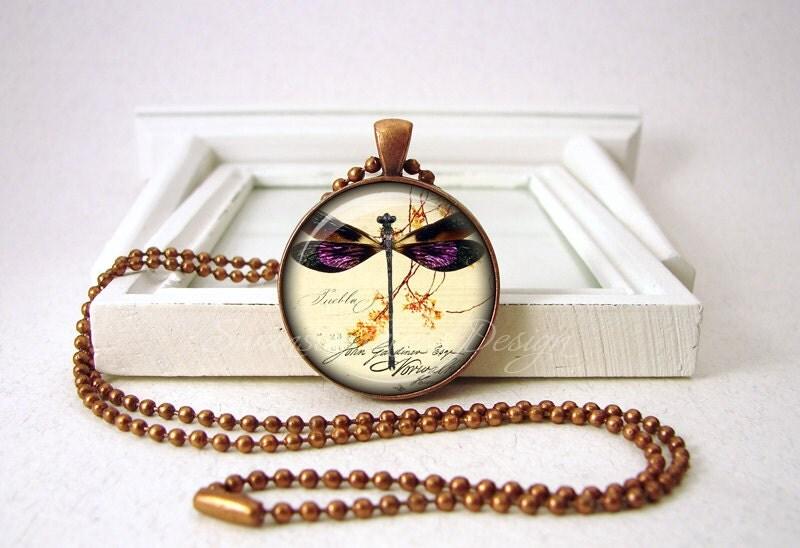 Dragonfly Pendant - Purple Dragonfly Jewelry - Dragonflies - Wedding Jewelry - Dragonfly Necklace - Copper Jewelry