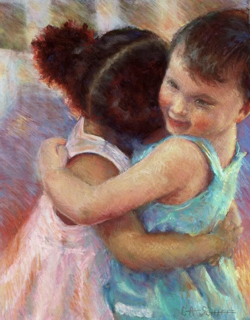 "Figurative Children Original Pastel Painting, OOAK 15x19"", ""I Have a Dream....."" - CarolSchiffStudio"