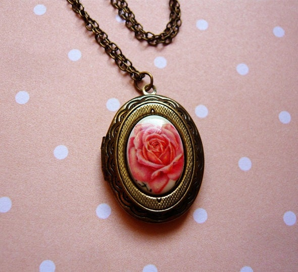 Cream Rose Cameo Locket Necklace by MaruMaru on Etsy from etsy.com