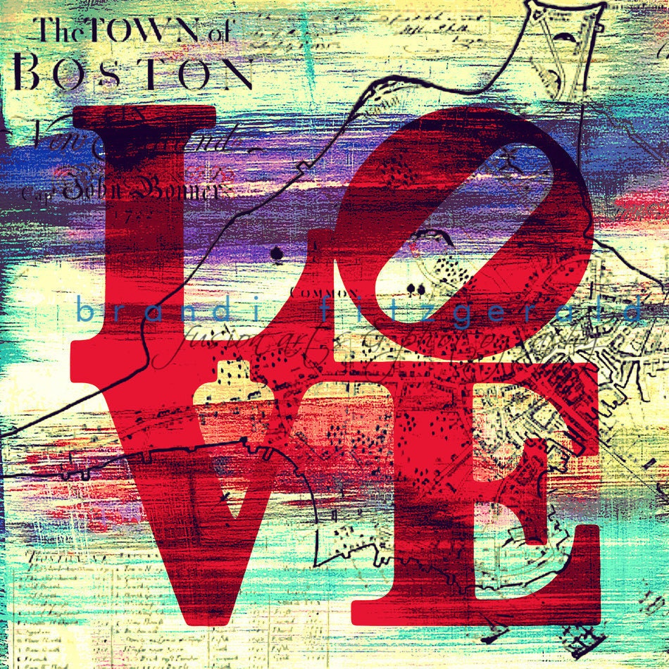 "Love in Boston. 12"" x 12""  City Fusion Paintographic Fine Art Print"