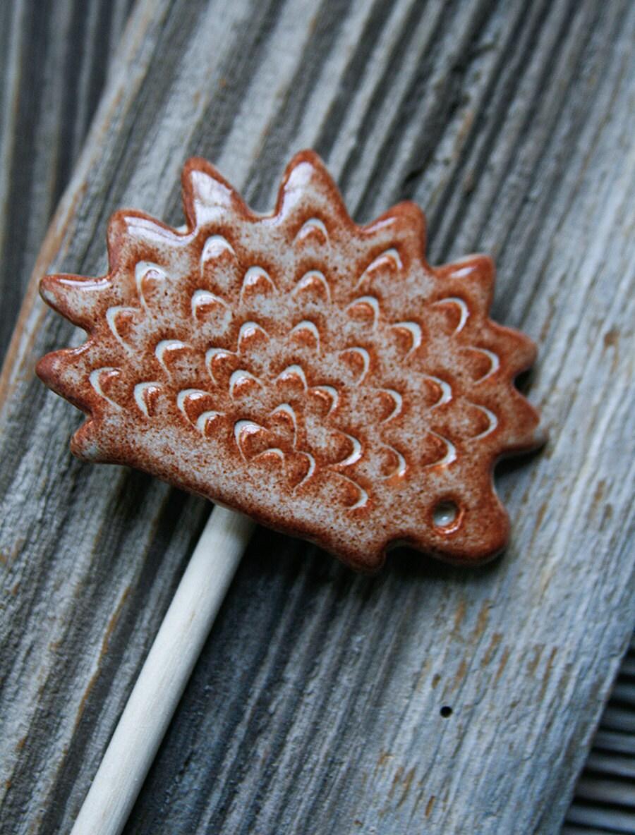 Hedgehog Garden Stake - Handmade Pottery