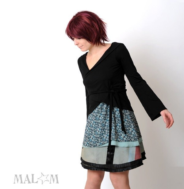 Black Wrap Cardigan - Black Shrug - Chameleon Wrap Shrug - Long sleeves - Jersey - Transformable - Malam
