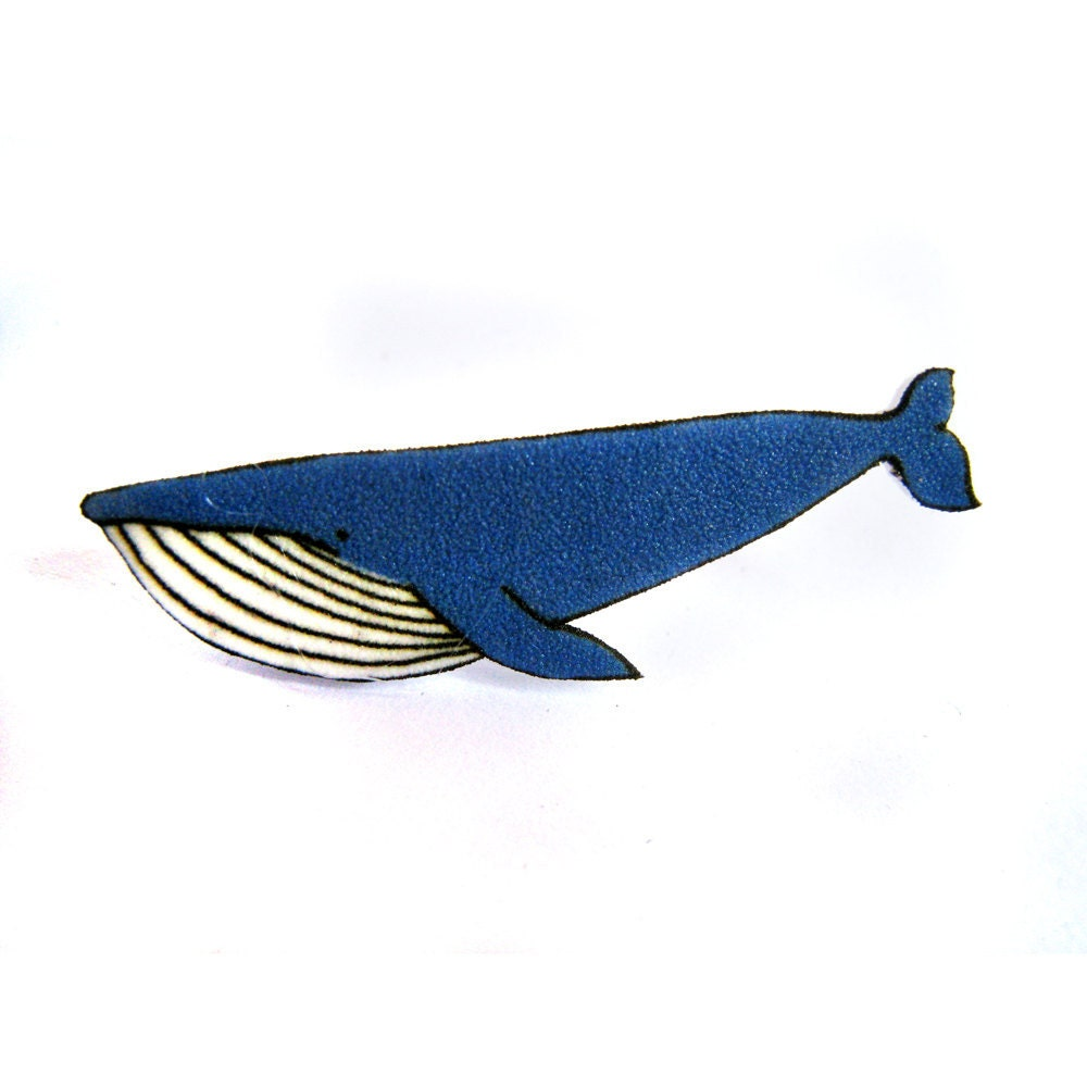 Blue Whale Broch Pin - Shrinky Plastic - zyzanna