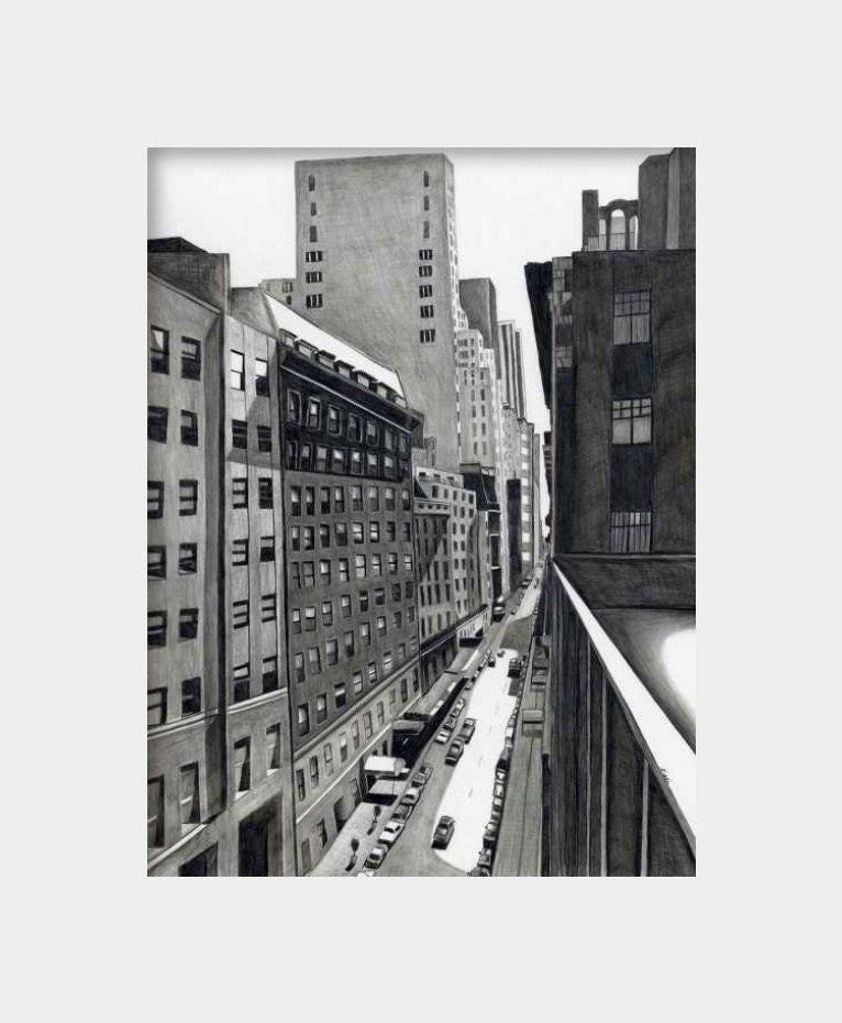 Deep new york city street art print from original pencil drawing black white gray cityscape 8.5 x 11