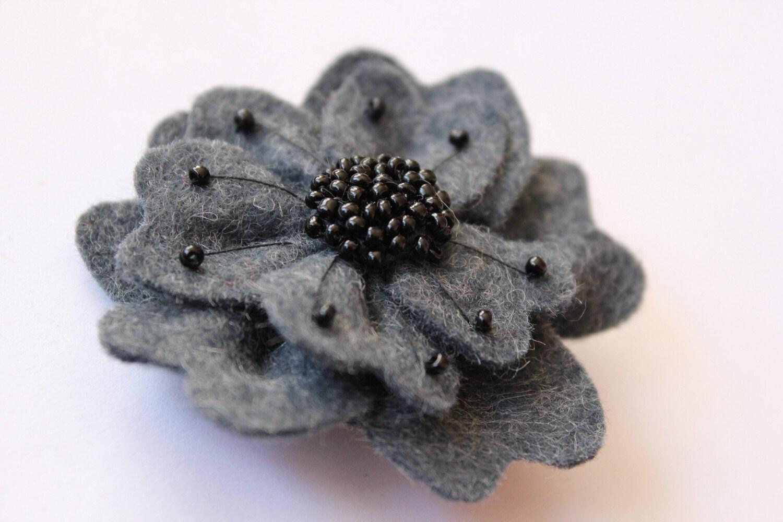 blue felt hand beaded flower brooch pin