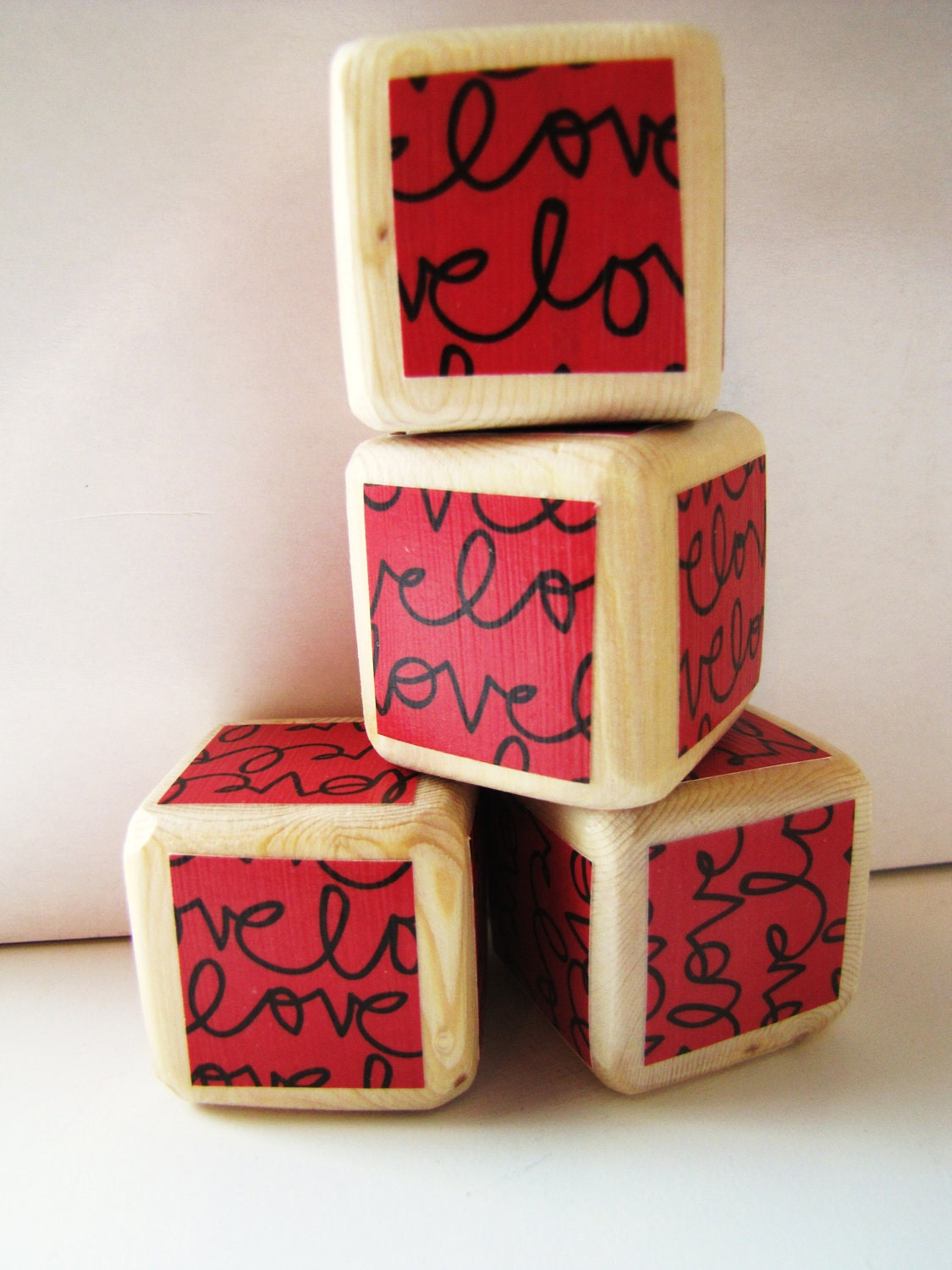 Valentine's Decoration. Red and Black. LOVE. Decoration. blocks. For children. Valentines Day Gift