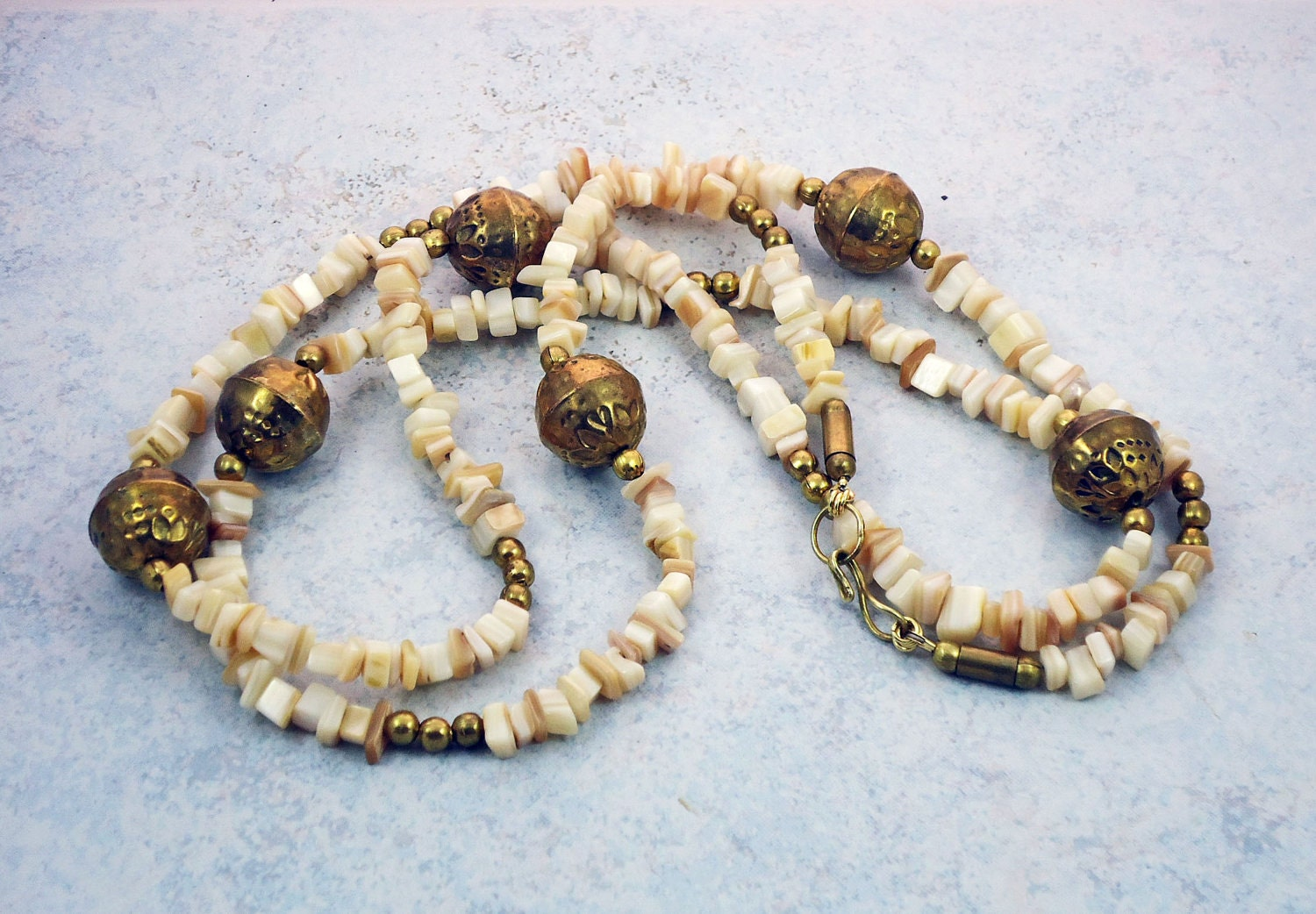 Vintage Brass Beads Shells Necklace - TinksTreasure