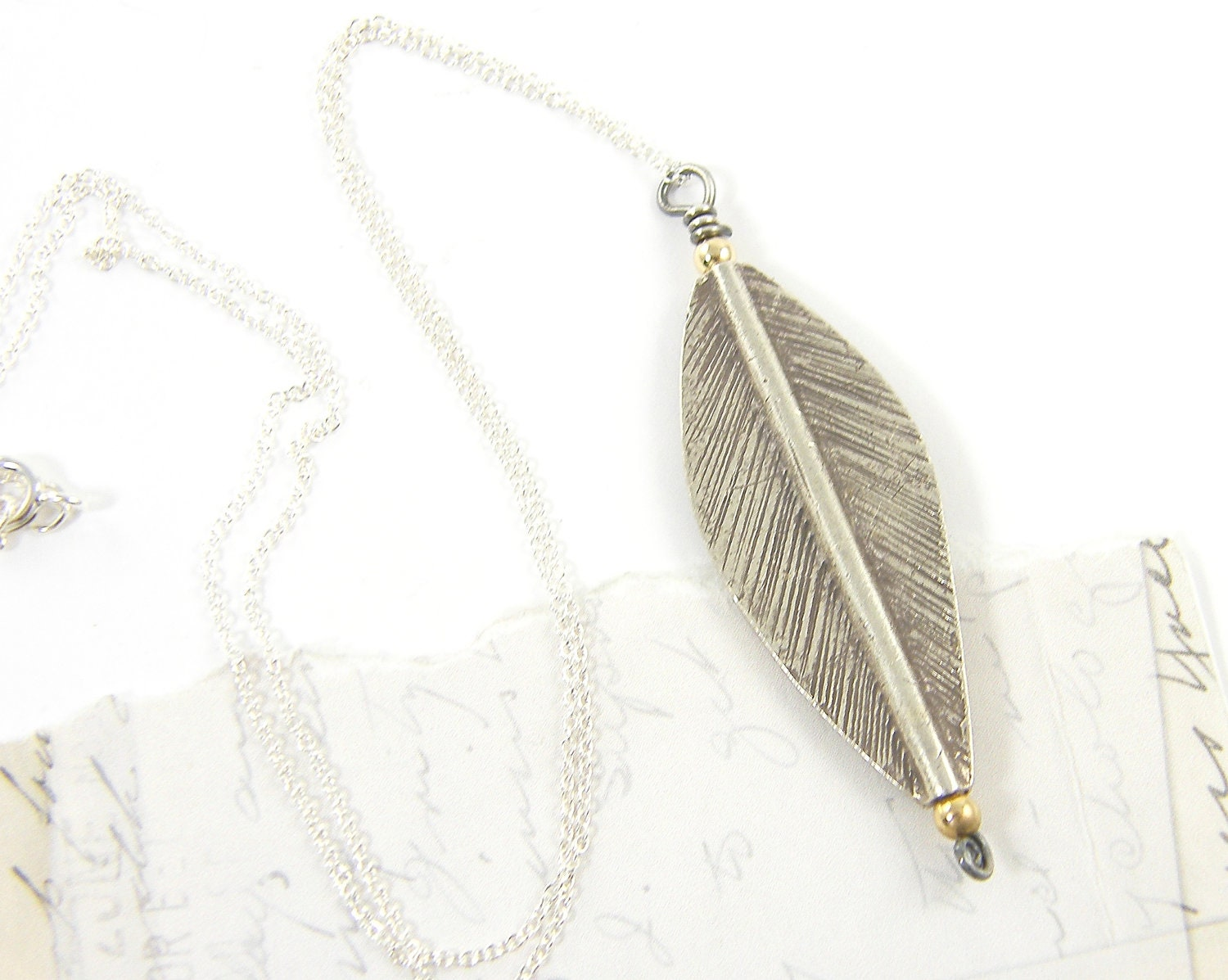 Silver Leaf Pendant Necklace - Mixed Metal Jewelry - CharleneSevier
