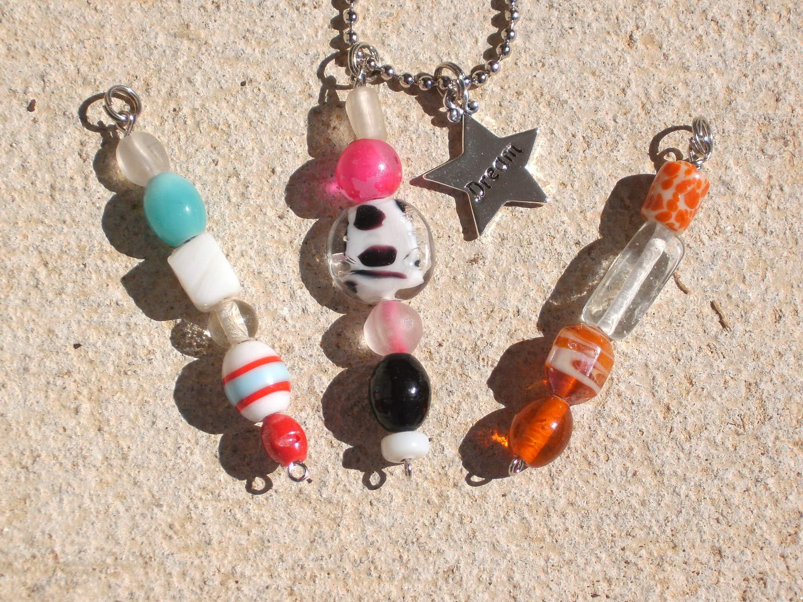 Sweet and Sassy Glass Bead Pendant set w/silver Dream charm
