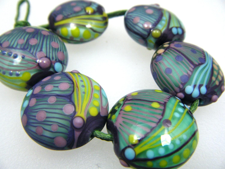 Moogin - Lampwork bead set -purple, turquoise,wasabi batik style lentils - 21mm- SRA - mooginmindy