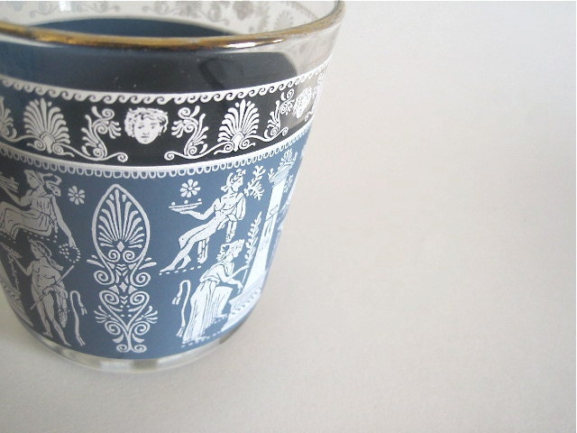 "Set of 5 Vintage Wedgwood Blue Grecian Glassware // 3 3/8"" tall - foundshop"