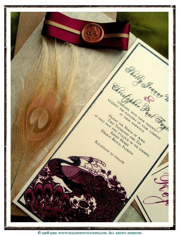 JEANNE Vintage French Style Peacock Themed Wedding Invitations in Wine Red