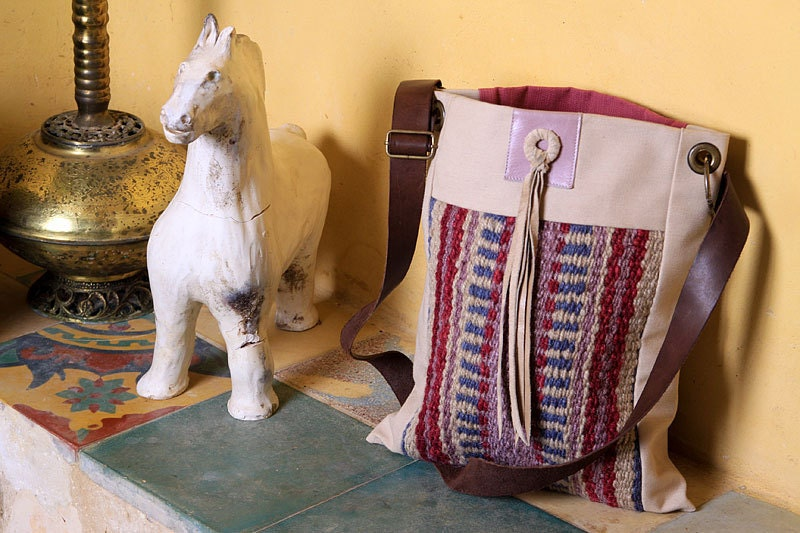 Crossbody purse // Bedouin weaving // Ethnic // Canvas // Leather //Cherry red // Lavender blue // Mediterranean // Unique // Handmade //