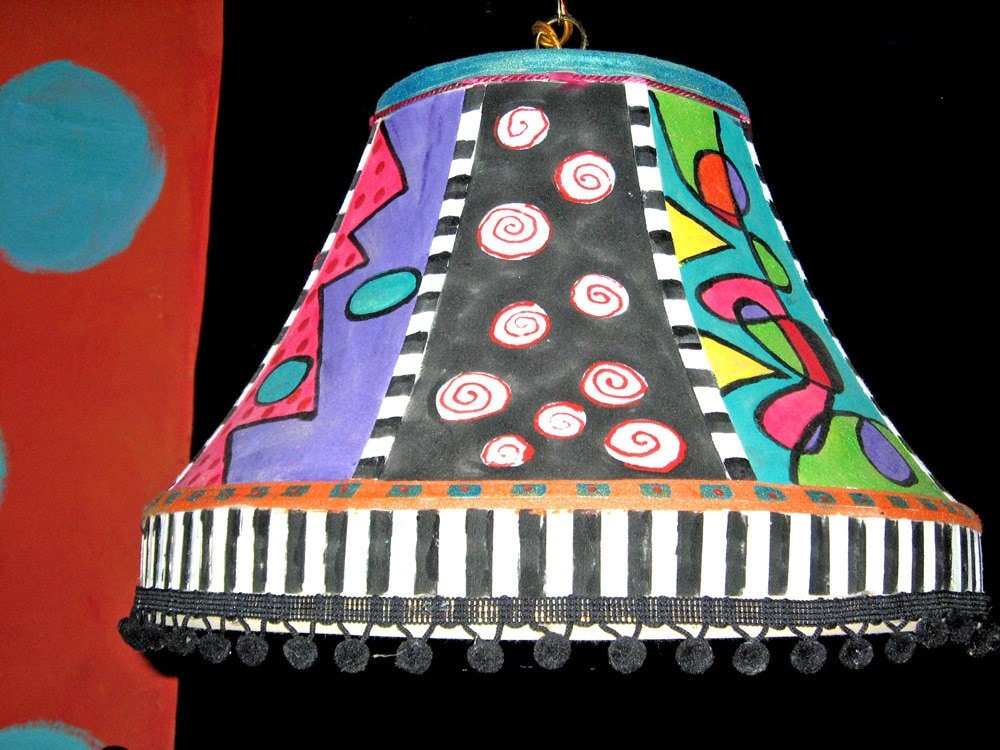 Hand painted Swag Lamp Shade