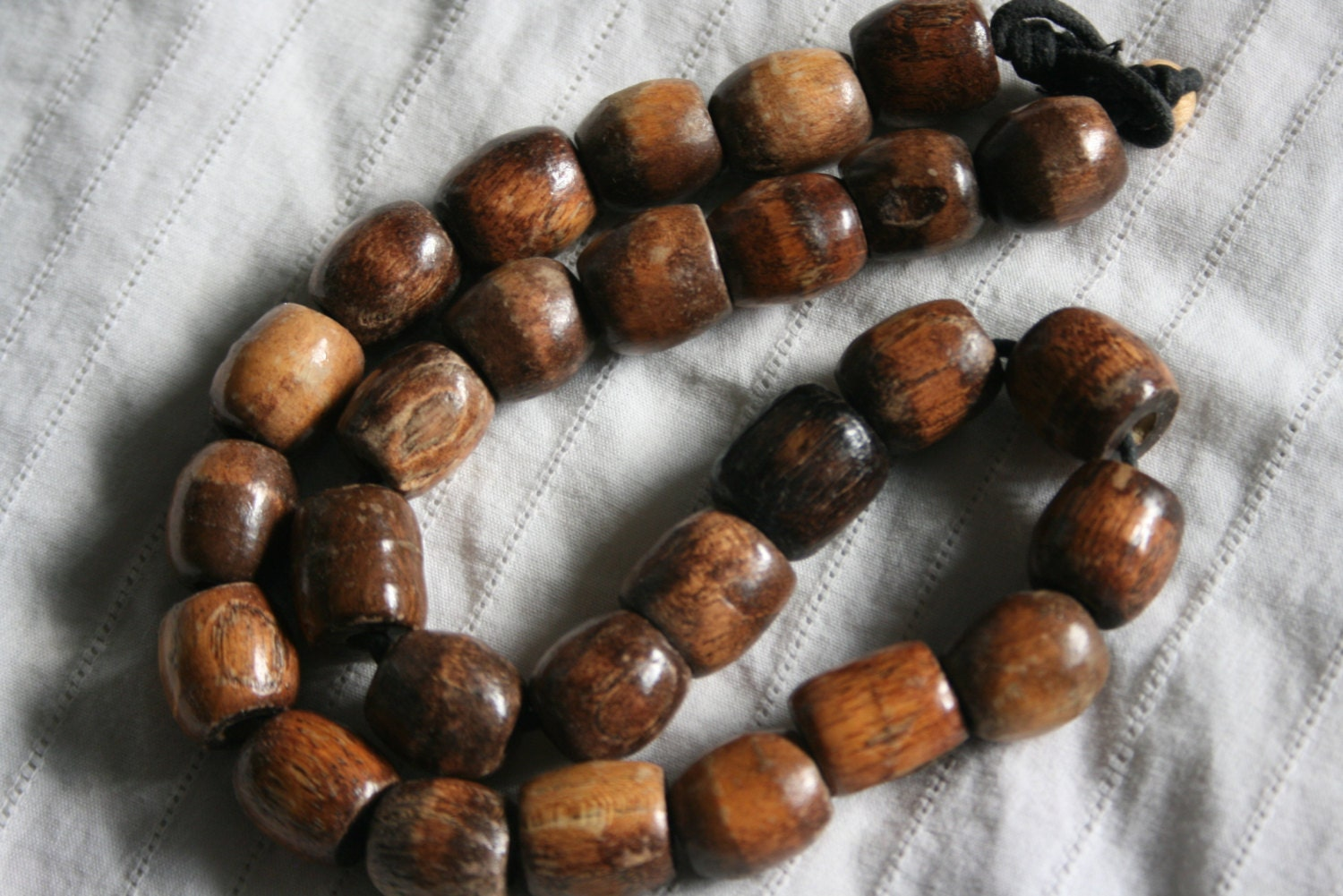 Vintage Beaded Hippie Boho Necklace...Wood Bead Necklace