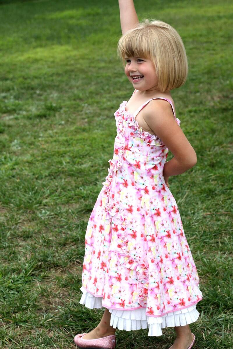Watercolor Flowers Dress Size 5-6