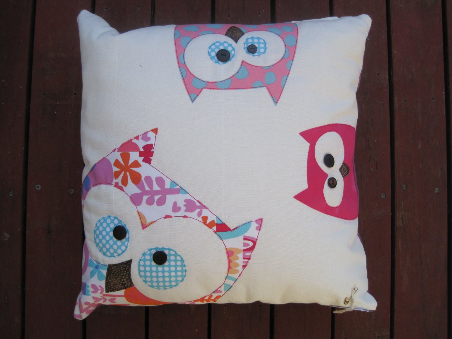 Family Of Owls Cushion in Pinks