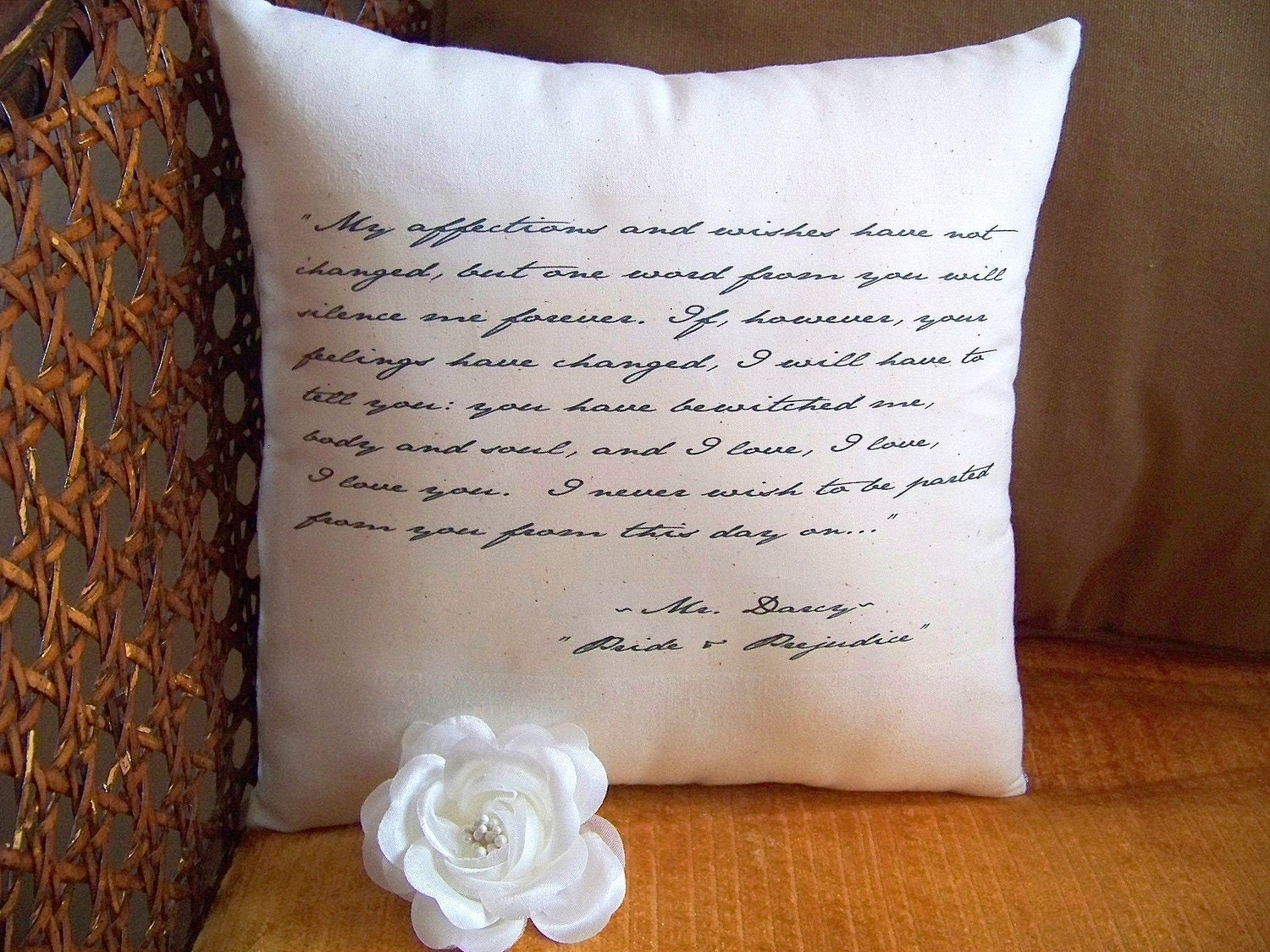 Simply Jane-Jane Austen-Pride and Prejudice-Mr Darcy's Declaration-10 x 10 Quotation  Pillow-Black Toile
