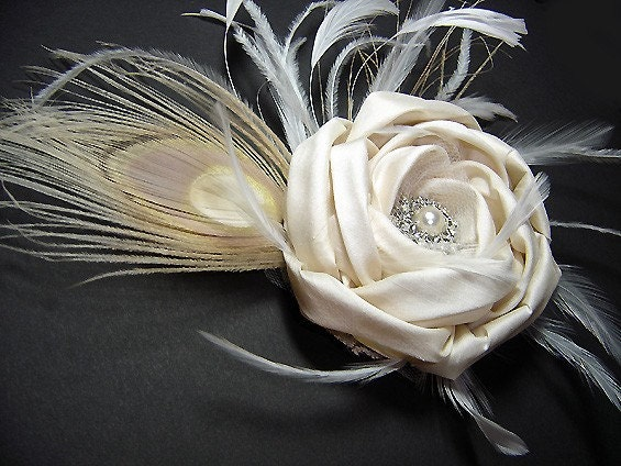 Made to order - Florence Spring - Peacock Bridal Pure Dupioni Silk Rose Hair Clip  FASCINATOR