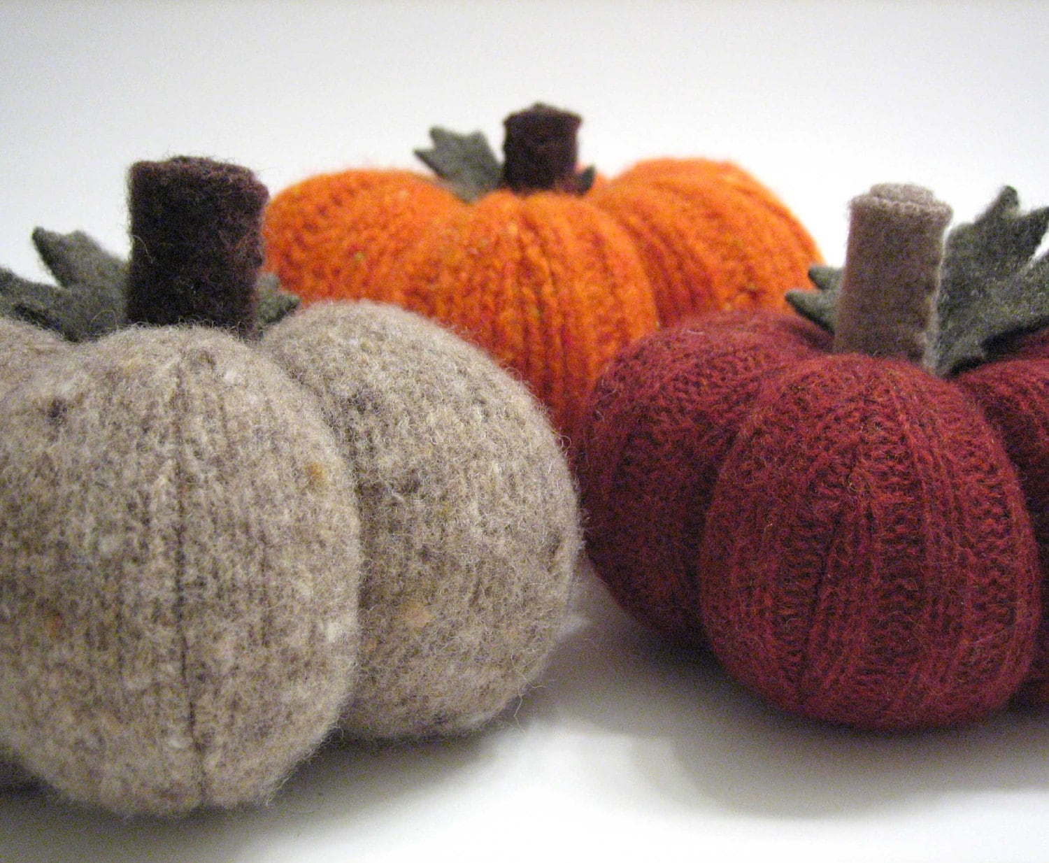Three Autumn Pumpkins Handmade from Felted Wool - Collection No. 15
