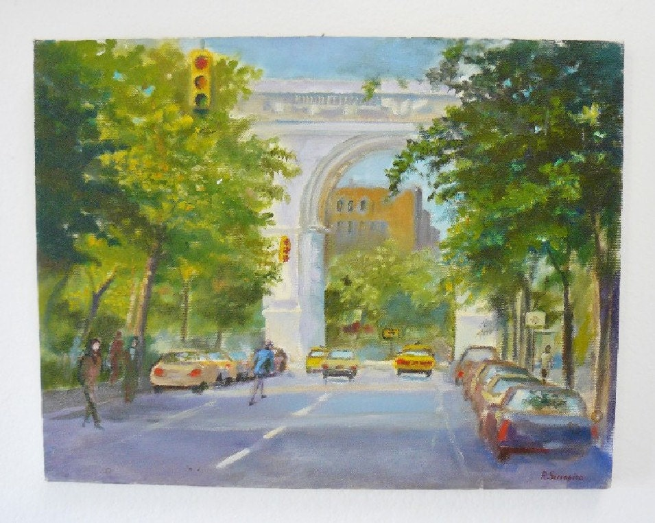 Vintage Signed Impressionist Cityscape Oil Painting Washington Square Greenwich Village New York