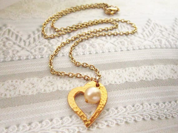 Heart Jewelry, Gold Heart Necklace, Asymmetrical Necklace, Valentines Day Jewelry