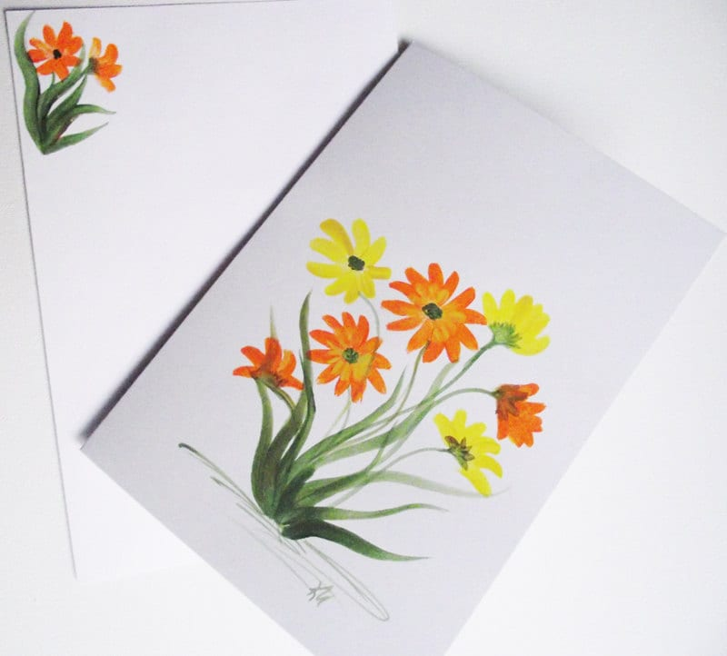 Greeting Card Spring Flowers, Daisy yellow and orange - KarenUnderwoodArt