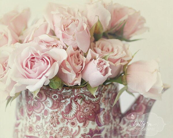 Petite Pinks- Pink Rosebuds in Vintage Teapot- Dreamy Still Life- Flower Photography- Roses- Paisley- 8x10 Fine Art Print - kellynphotography
