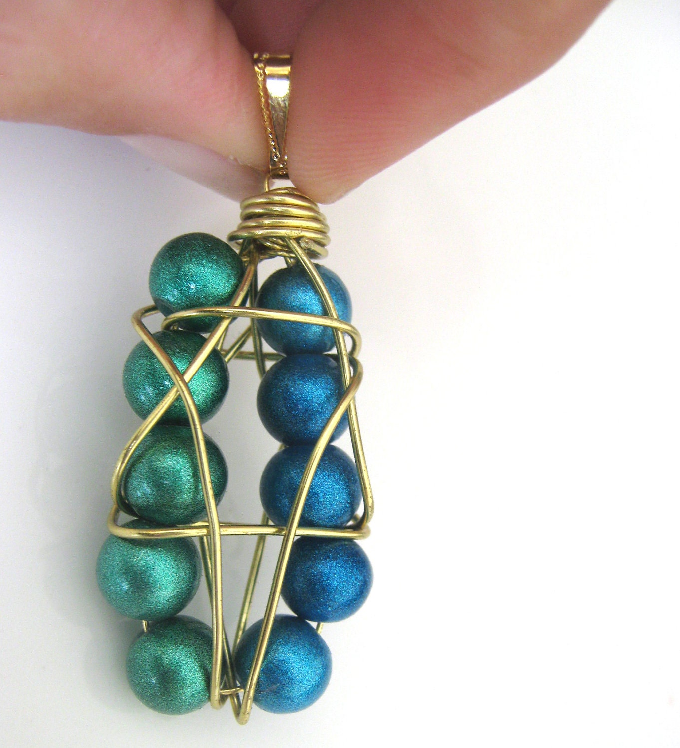 Star of David Pendant - wire wrapped blue and green glass