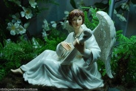 Angel of Music and Angel of Spirit Guitar Mandoline Dove Sun Dial Porcelain Figurines Christmas