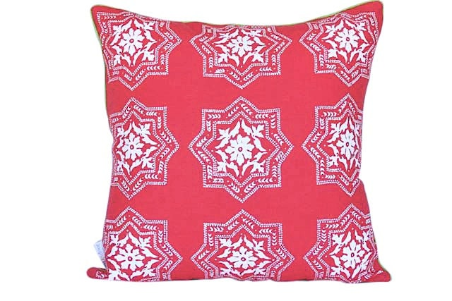 Algarve cushion cover in white ink on watermelon pink linen with green piping 47cmx47cm - AquaDoorDesigns