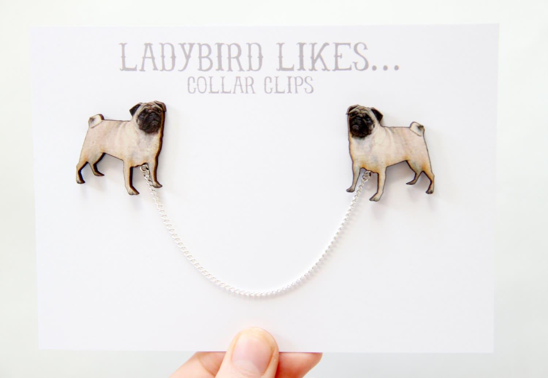 Pug Wooden Collar Clips
