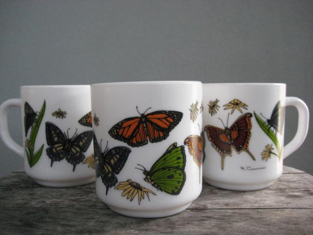 Vintage French Arcopal Set of Three Coffee Mugs  Butterflies/Moths