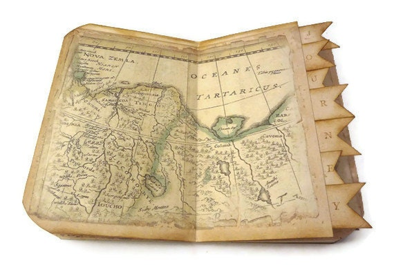 Travel Journal, Travel Scrapbook, Old World Map, Travel Photo Album, Vintage Inspired, Handmade Art Journal - Istriadesign