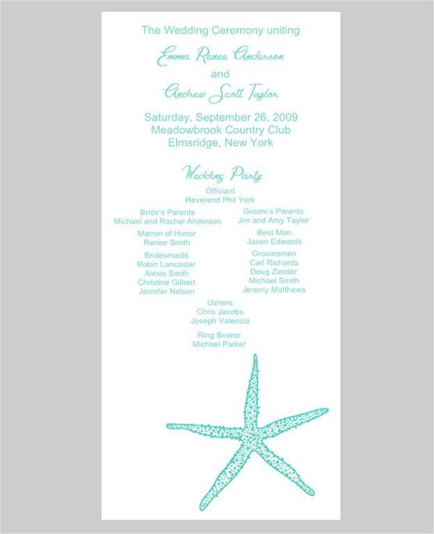 Starfish Wedding Programs From Whimsicalprints