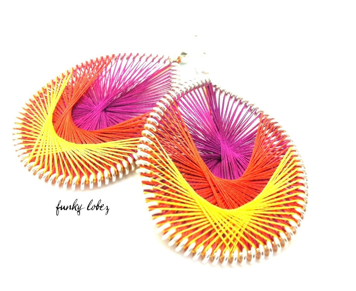 BLOOM- Hot Pink, Orange and Yellow thread earrings by Funky Lobez