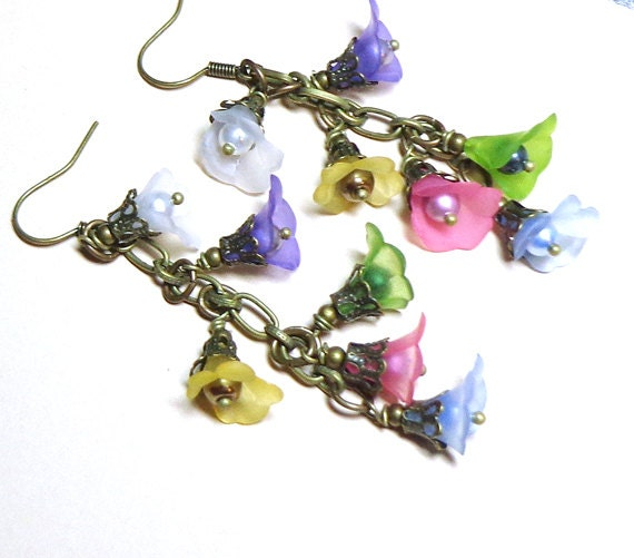 Jewelry, Earrings Lavender,Yellow, Green, Pink, Blue, White Flowers, Swarovski Crystal Pearls, Antique Brass - SpiritCatDesigns