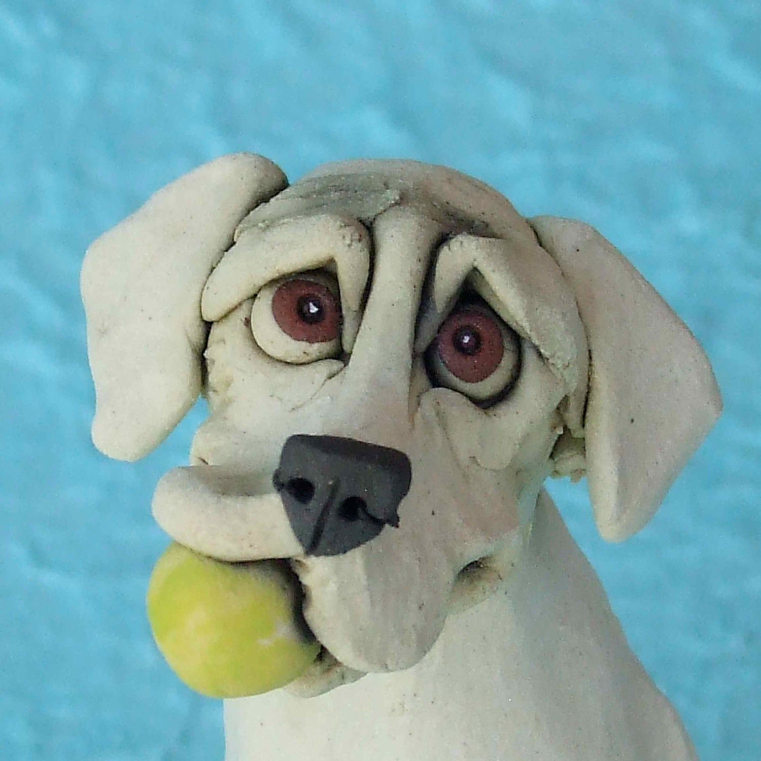 Labrador Retriever Dog Holding Tennis Ball Ceramic Sculpture