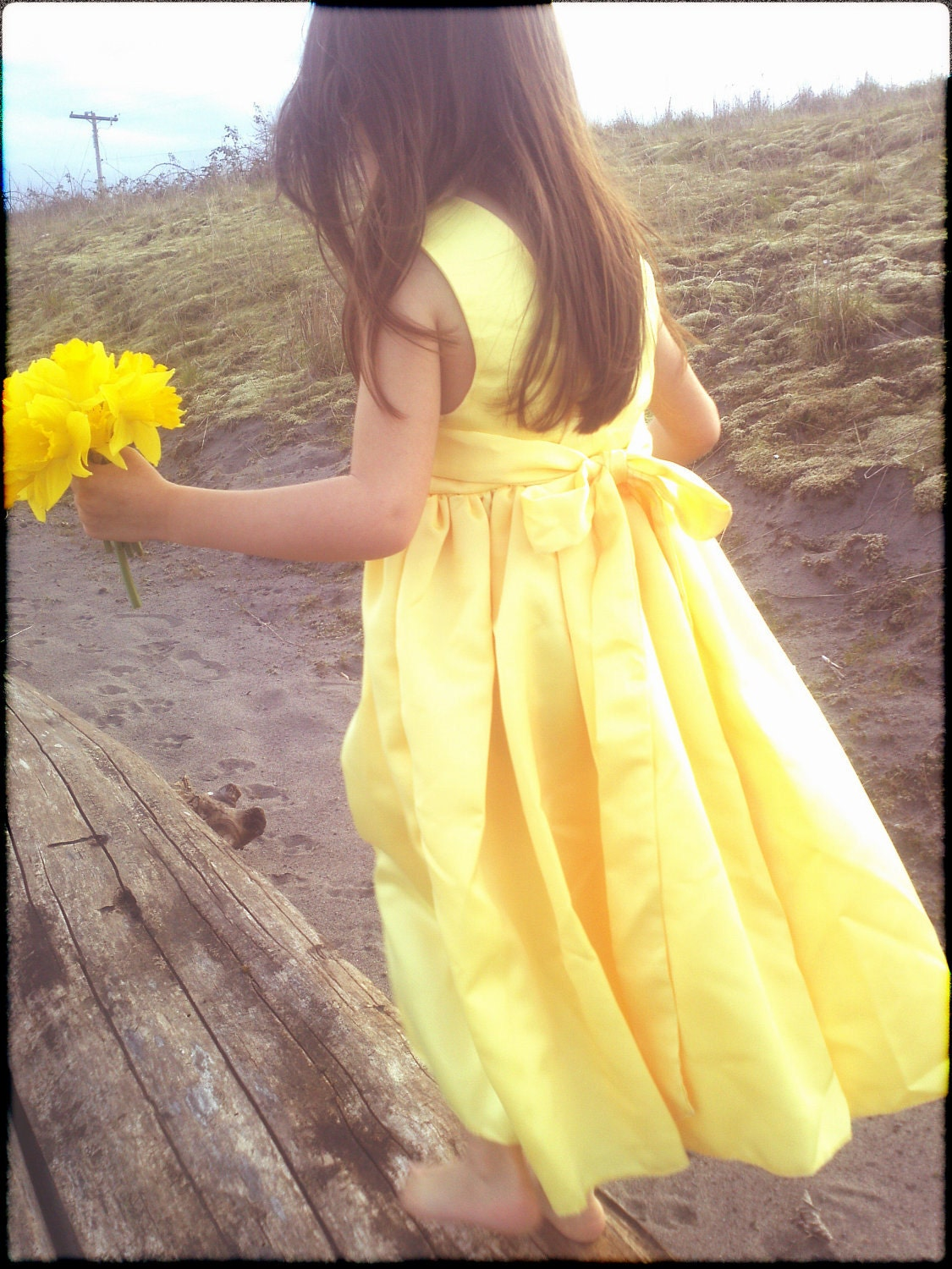 Flower Girl Dress: My Little Sunshine Dress. custom made to order. satin flower girl dress. shown in sunshine yellow. match your wedding. - MelissaRenePrice