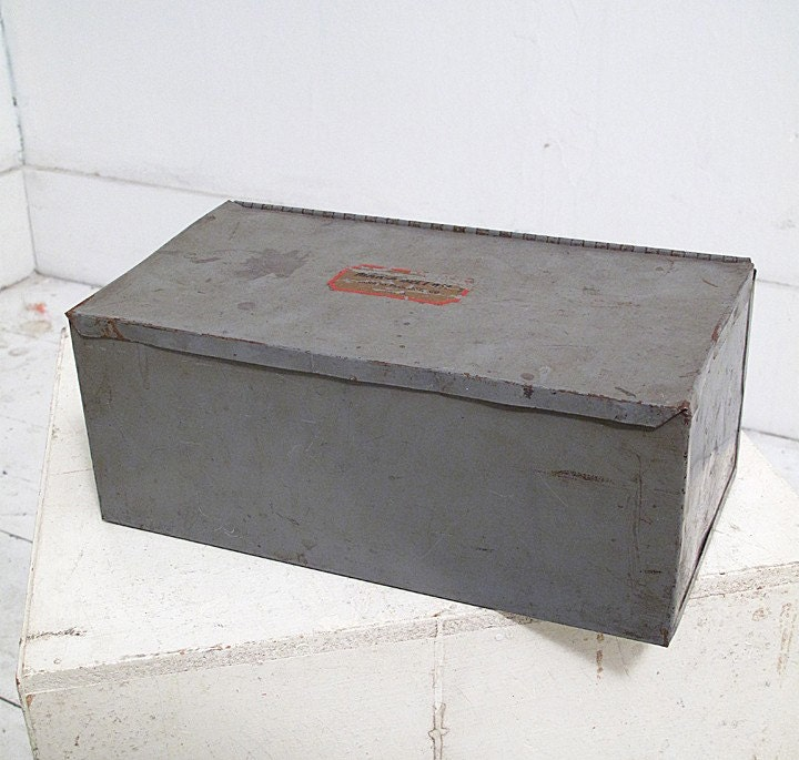 Metal Box Storage Tin Grey Industrial Decal Container Desk Accessory - idaberman